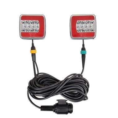 Rückleuchten-Set LED 4F auf Magnet 7,5+2,5M Kabel 13P.