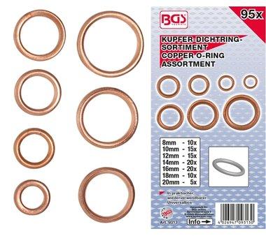 95-teiliges Kupfer-O-Ring-Sortiment, Ø 6-20 mm
