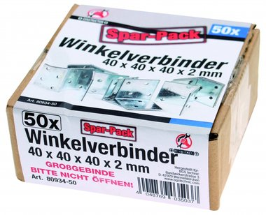 Angle Joint Value Pack (50 Stk.), 40x40x40x2 mm, verzinkt