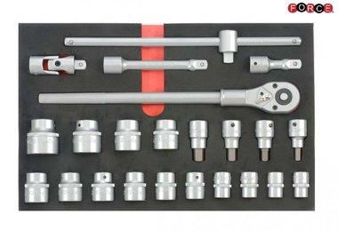 Steckschlüsselsatz in Weichschaum 23 tlg