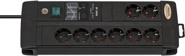 Premium-Line 30.000 A Steckdose mit Überspannungsschutz 8-fach Duo schwarz 3m