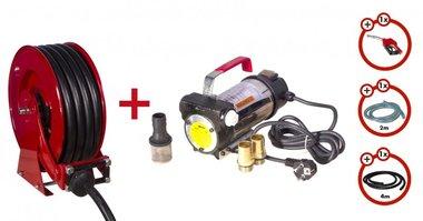 Dieselpumpe 230 V + Aufrollwalze + Pumpenset