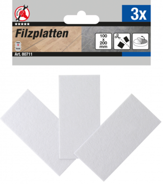 Filzgleiter Platten weiß 100 x 200 mm 3-tlg