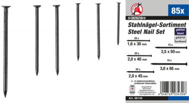 Stahlnägel-Sortiment 85-tlg