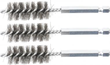 Stahlbürste | 17 mm | Antrieb Außensechskant 6,3 mm (1/4) | 3-tlg.