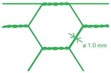 Sechseckiges Netz Avigal PVC 25x1.0 100 cm x 25 m