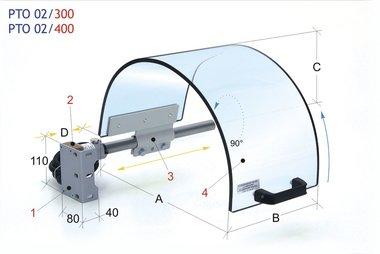 Klauwplaatafscherming met monolithisch scherm diameter 400mm
