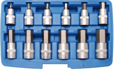 Bit-Einsatz-Satz | Antrieb Innenvierkant 12,5 mm (1/2) | Innensechskant | 12-tlg.