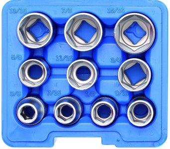 Steckschlüssel-Einsatz-Satz Sechskant Antrieb Innenvierkant (1/2) Zollgrößen 10-tlg.